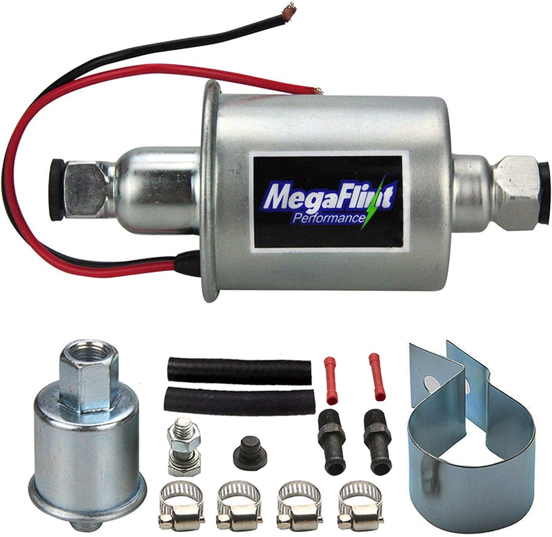 Megaflint+ E8012S 12V Universal Electric Fuel Pump Low Pressure 5-9 PSI For Gas Diesel Inline HEP-02A: Automotive