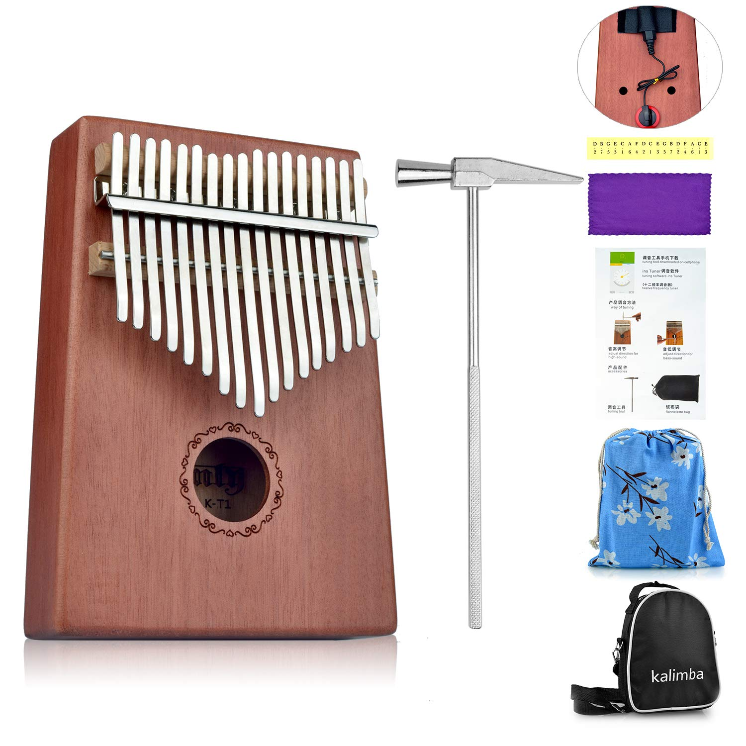 Kalimba Thumb Piano 17 Keys Made of Mahogany, Easy to Learn, 17 Note Finger Piano with Tuning Hammer, Carry Case, Acoustic Pickup Frunsi