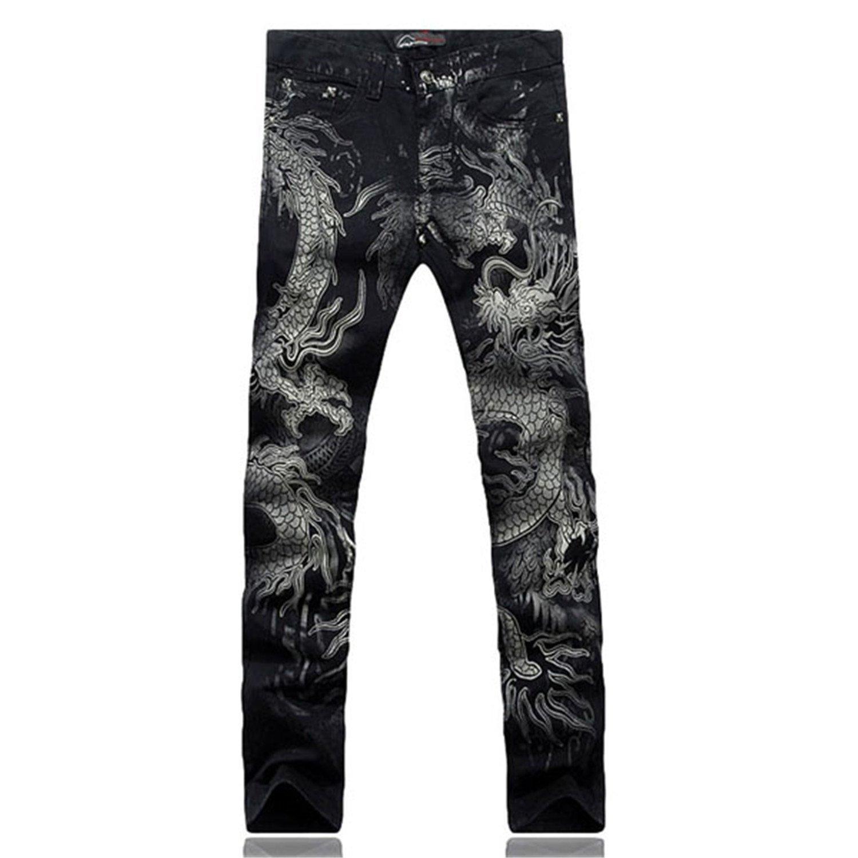 TOPING Fine Men's Fashion Dragon Print Jeans Male Colored Drawing Painted Slim Denim Pants Elastic Black Long Trousers Black32