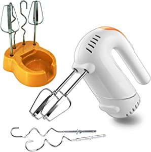 Youtop Electric Hand Mixer 5 Speed Turbo Hand-held Size with Base Holder 4 Stainless Steel Attachements for Whipping Cream, Dough, Cake, Bread