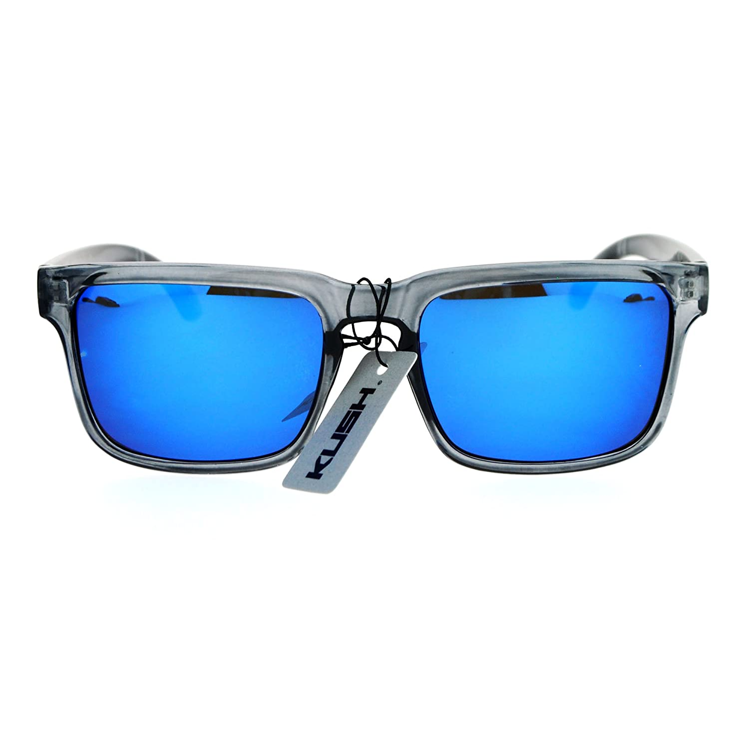 9bd7ff45f2 Kush Mens Color Mirrored Sport Horn Rim Slate Frame Agent Sunglasses Blue   Amazon.ca  Clothing   Accessories