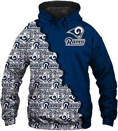 Z-ZFY Jersey-3D De La NFL Los Angeles RAMS Masculino Digital Print con Cordón De Lana con Capucha Moda Suéteres Aficionados Sudaderas,XL