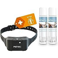 PetTec Anti-Bark Spray Trainer Advance pour Chien + 2 recharges Spray, Collier de Dressage, détection d'aboiement, Batterie rechargeable intégrée, Paramètres réglables, imperméable IP65 (Inodore)