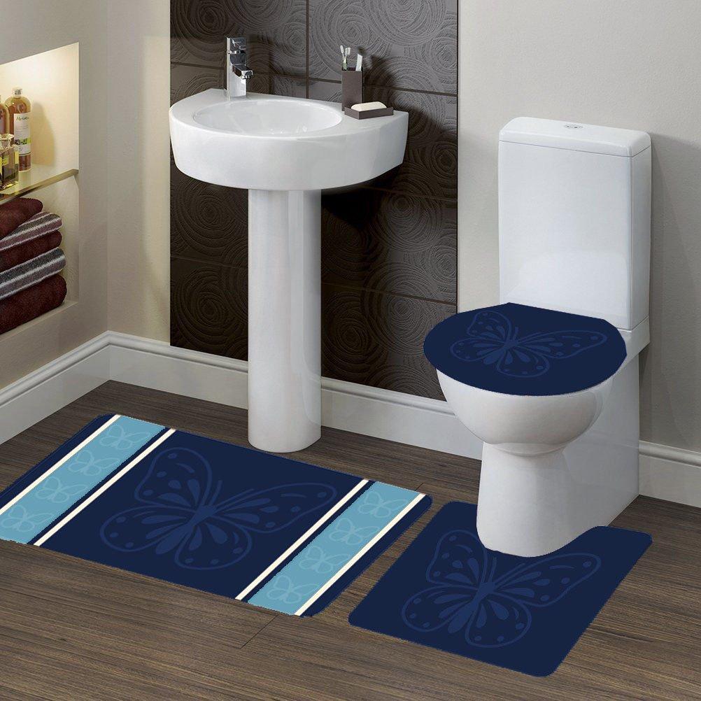GorgeousHomeLinen (#7) 3-Pieces Bathroom Bath Rubber Backing Non-Slip Contour Mat Rug Set with Toilet Lid Cover (Butterfly Navy)