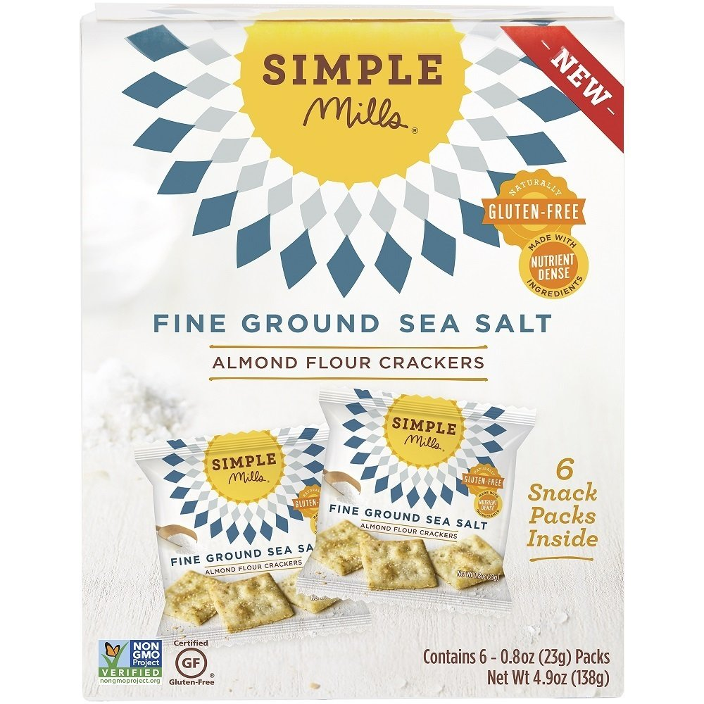Simple Mills Almond Flour Cracker Snack Pack, Fine Ground Sea Salt, Naturally Gluten Free, 4.9 oz by Simple Mills
