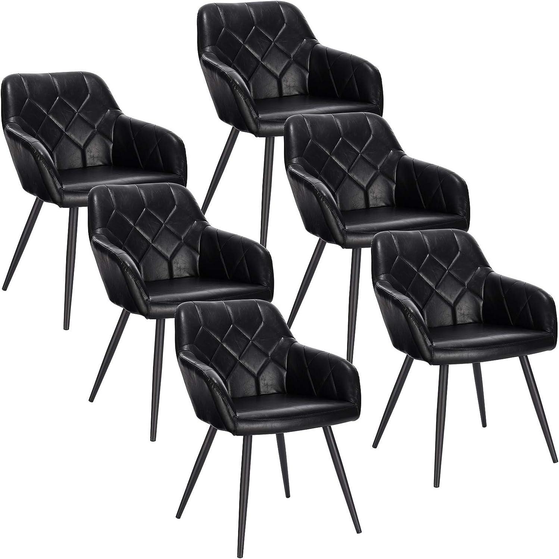 EUGAD Pack de 6 Sillas de Comedor Vintage Diseño de Cuero Sintético Sillas Nórdicas Moderna Silla de Cocina Salón Dormitorio Conferencia Negro: Amazon.es: Hogar
