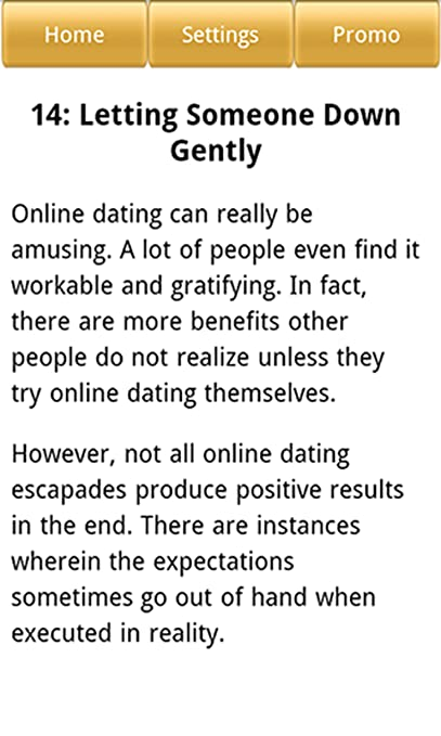 online dating how to tell someone down gently