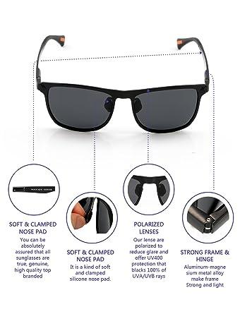 766def2a75 Amazon.com  Yougarr Group Retro Wayfarer Sunglasses Polarized Metal Frame  Classic Vintage Design for men women (Black Len Black Frame