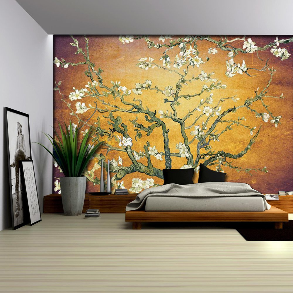 Orange with Purple Vignette Almond Blossom by Vincent Van Gogh Wall ...