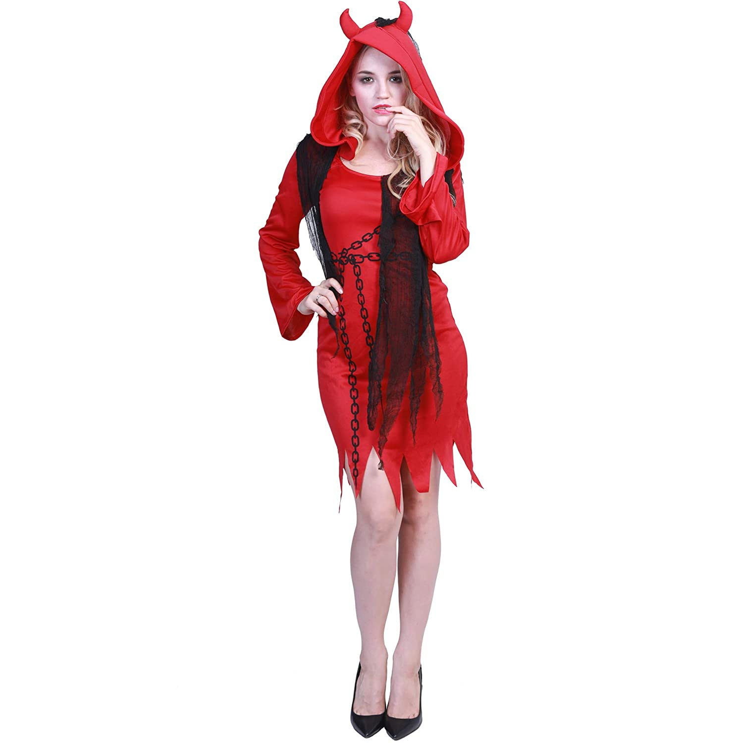 Duivel Kostuum Halloween.Buy Reneecho Women S Red Devil Costume Fancy Dress Robe Cosplay Halloween Funny Party Outfit For Adult At Amazon In