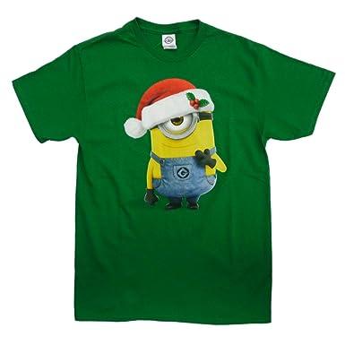 Amazon.com: Despicable Me Mens Green Christmas T-Shirt Santa Hat ...