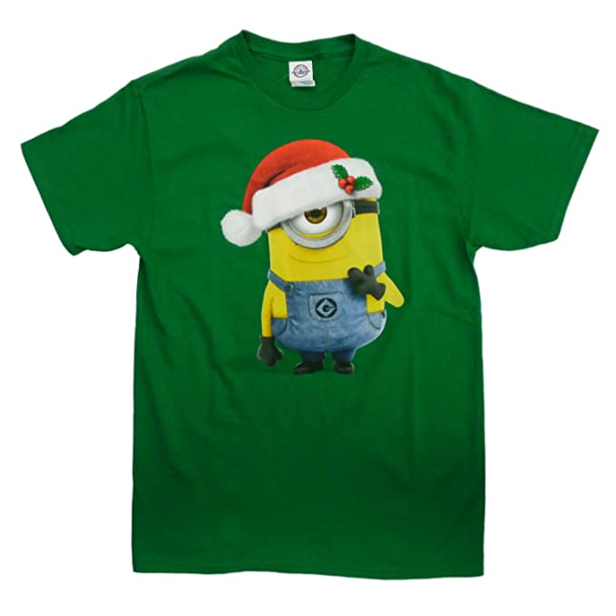 despicable me mens green christmas t shirt santa hat minion shirt - Minion Christmas Shirt