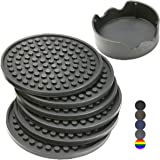 Enkore Drink Coasters Silicone Set of 6 (Gray) with Holder - Good Grip, Deep Tray, Large 4.3 inch Size