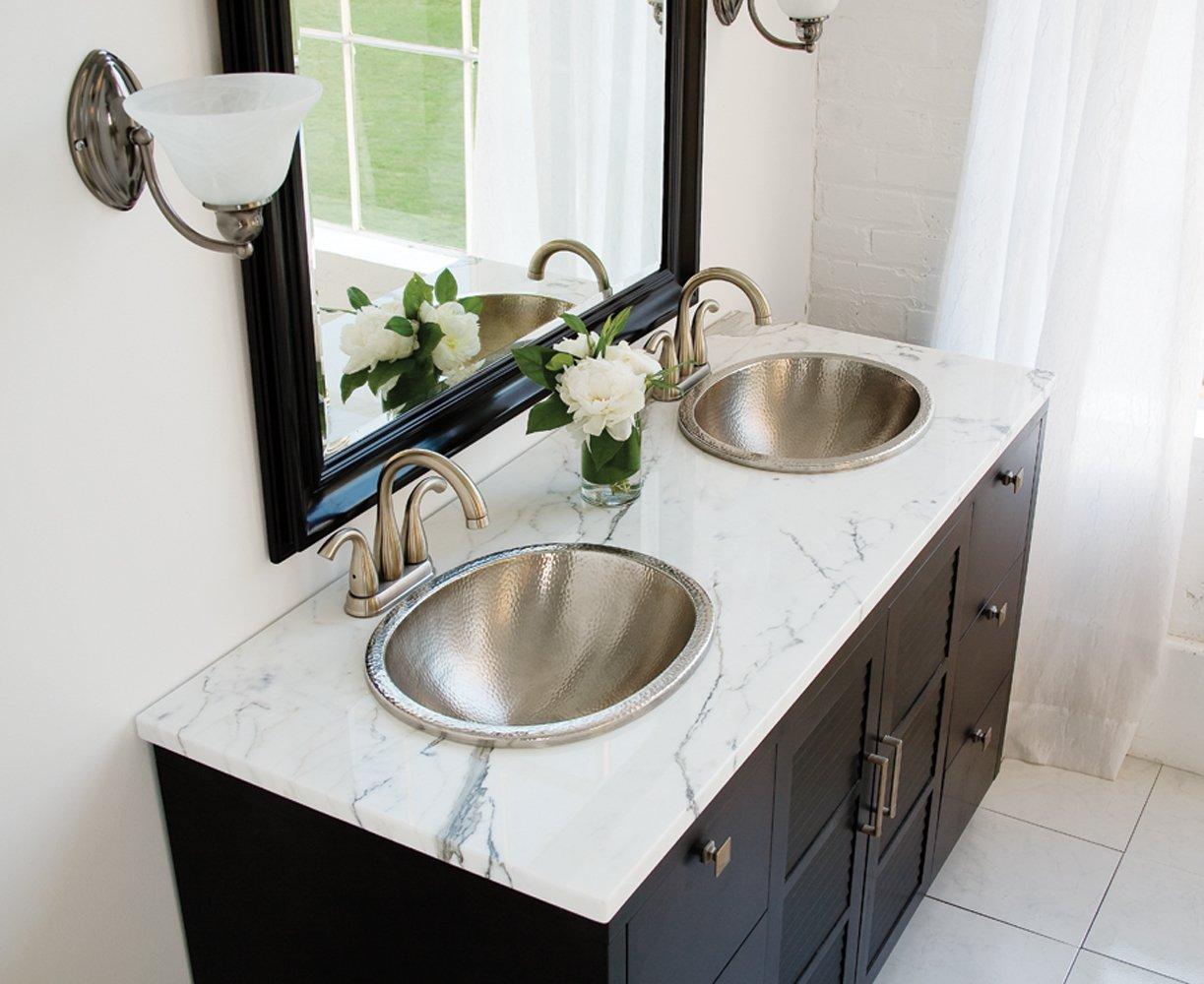 Sinkology SB203-18N Edison Dual Mount Oval Bathroom Sink, 18-0.5 Inch, Hammered Nickel by Sinkology (Image #4)