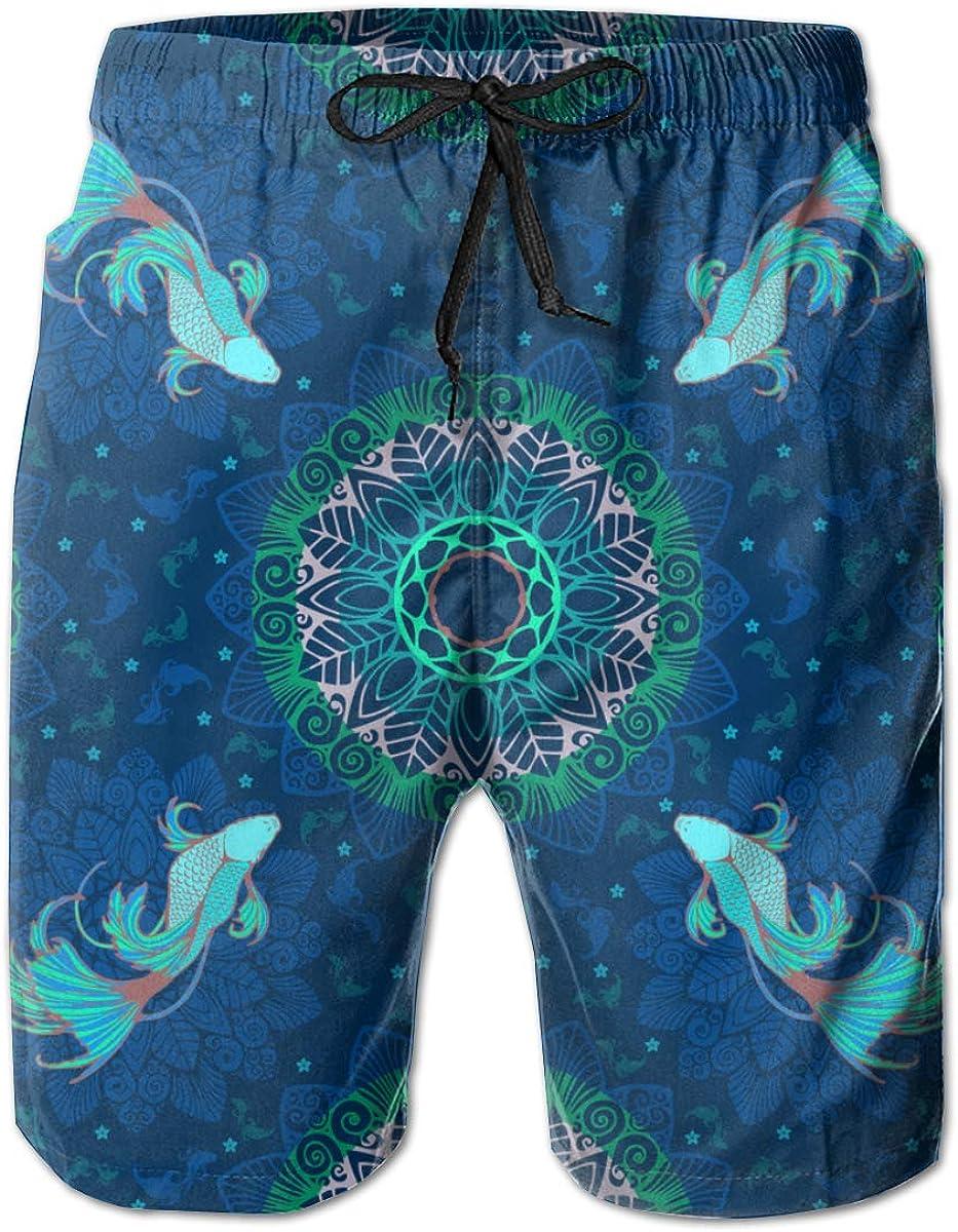 Betta Splendens Fish Mens Beach Shorts Casual Swimming Trunks with 3 Pockets