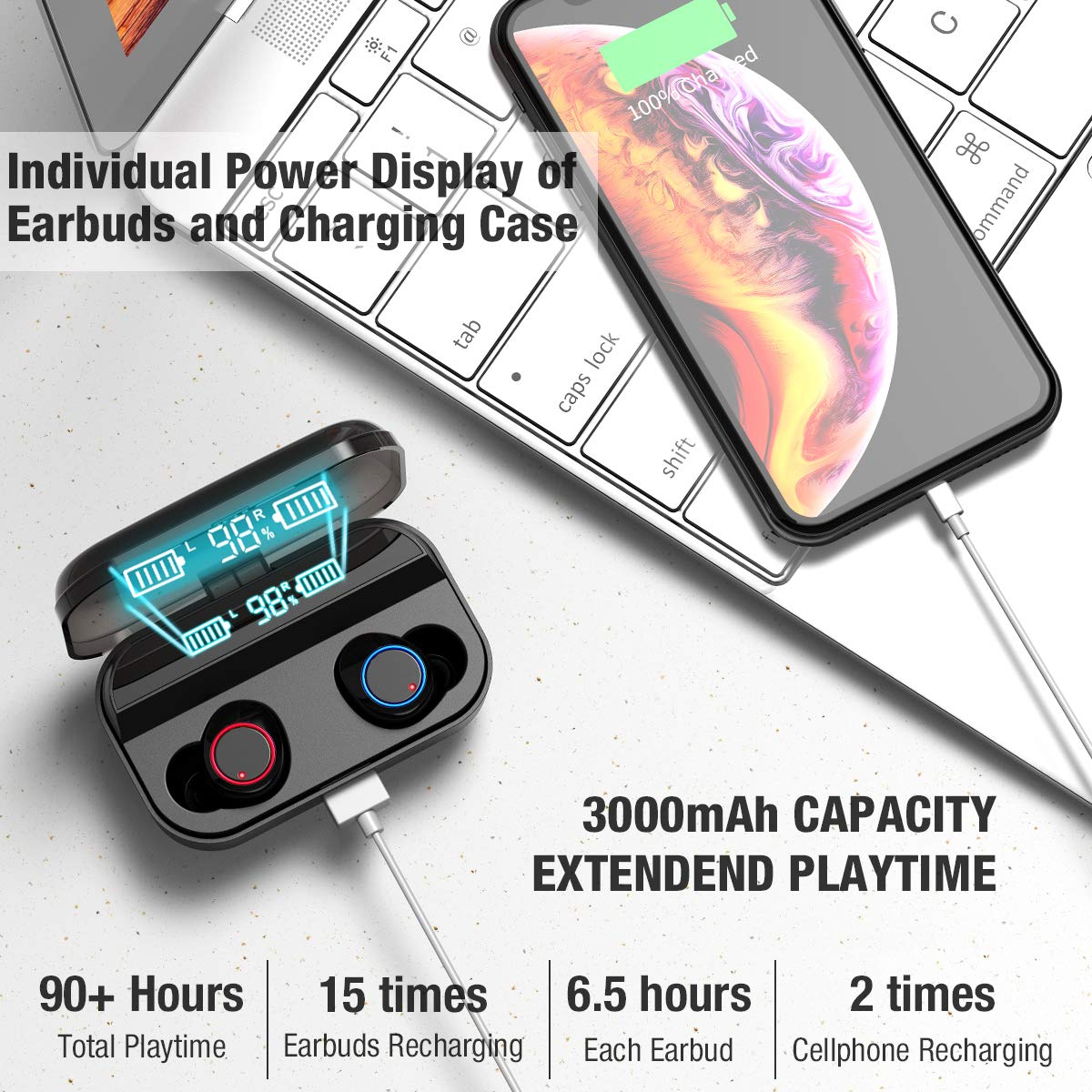 Kissral Wireless EarbudsKissral Bluetooth 50 Earbuds with 3000mAh Charging Case LED Battery Display