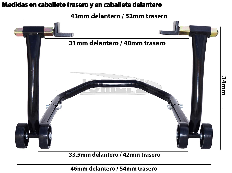 JOMAFA SOPORTE//ELEVADOR//CABALLETES MOTO DELANTERO Y TRASERO DESMONTABLES UNIVERSAL