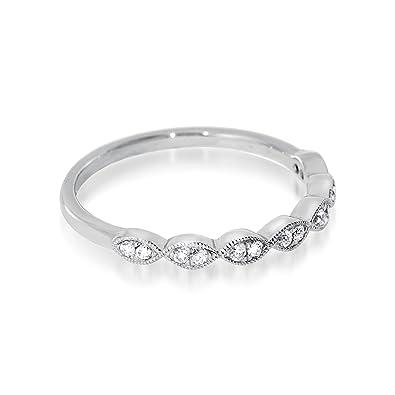 Noam Anillo de matrimonio de oro blanco 18 ct con diamantes y brillantes mitad eternidad: Amazon.es: Joyería