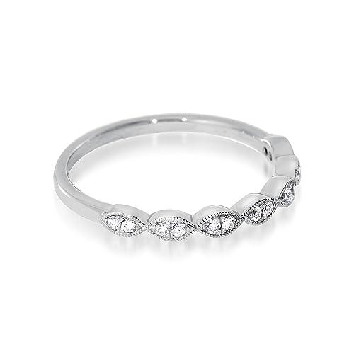 Noam Anillo de matrimonio de oro blanco 18 ct con diamantes y ...