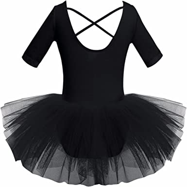 iEFiEL Kids Girls Short Sleeved Gymnastics Ballet Dance Leotard Dress Cross Back Tutu Skirt