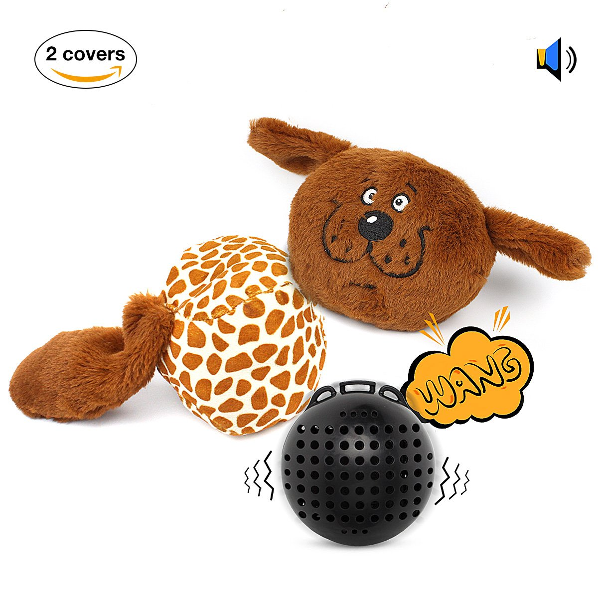 Kailian Dog Plush Squeaky Toy Electronic Shake Squeaky Plush Toys for Dog Squeaker Self Entertainment Giggle Ball for Dogs Electronic Bouncer for Medium Size Dogs 2 Covers and 1 Ball