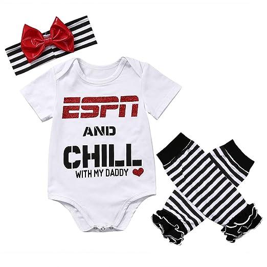 4c3cdb301 Amazon.com: Newborn Toddler Baby Girls Boy Short Sleeve Letter Printed Tops  Romper+Striped Leg Warmer Bownot Headband 3Pcs Outfit Set: Clothing