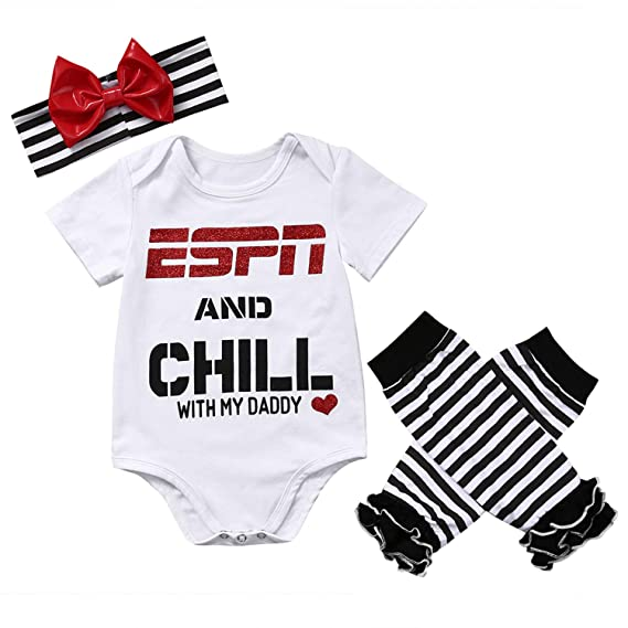 f301063190 Amazon.com  Newborn Toddler Baby Girls Boy Short Sleeve Letter Printed Tops  Romper+Striped Leg Warmer Bownot Headband 3Pcs Outfit Set  Clothing
