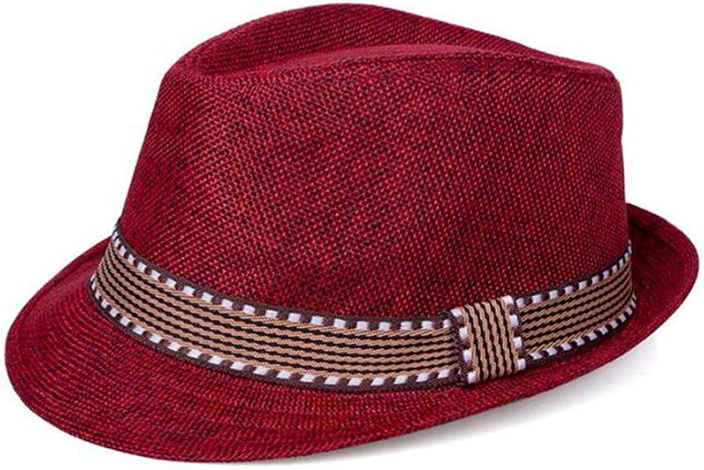 Red Zooarts Kid Boys Girls Straw Cap Jazz Hats Bucket Panama Caps Photo Props Bonnets
