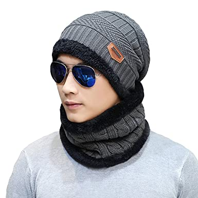 bfd94fce398 Image Unavailable. Sungpunet Men s Winter Beanie Hat Scarf Set Warm Knitted  ...