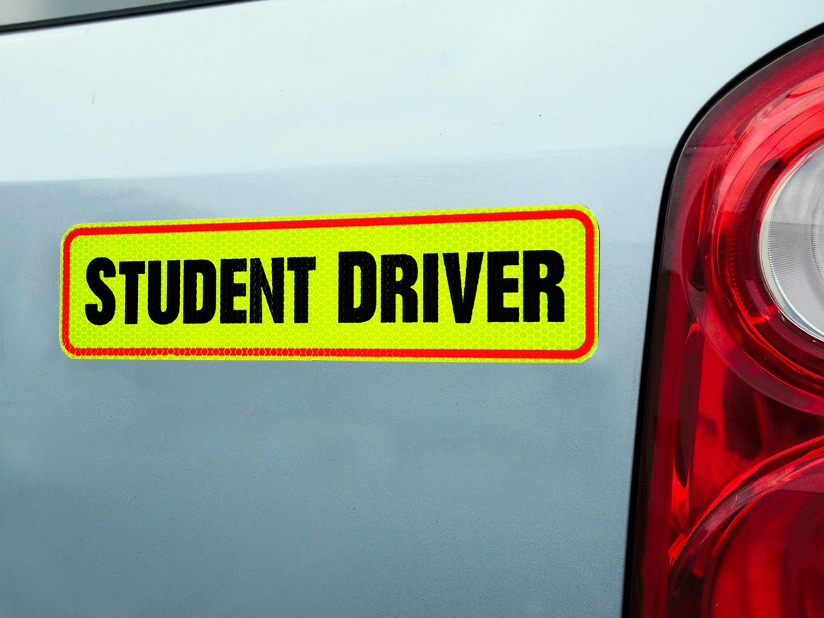 Signs Authority Student Driver Bumper Magnet for New Drivers Reflective Magnetic Large Bold Visible Text Reusable Unlike a Decal or Bumper Sticker Student Driver 6 Pack Novice or Beginner