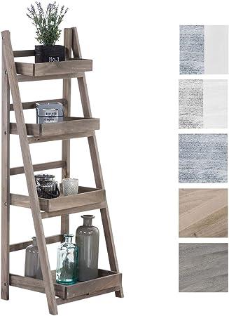 Estantería Escalera Dorin con 4 Estantes I Estantería Plegable en Estilo Rústico I Estantería Decorativa de Madera, Color: marrón Claro: Amazon.es: Hogar