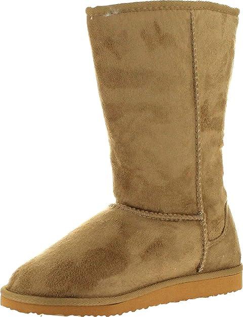 Soda Women/'s Soong Black Comfort Eskemo Faux Suede Fur Mid Calf Flat Boot