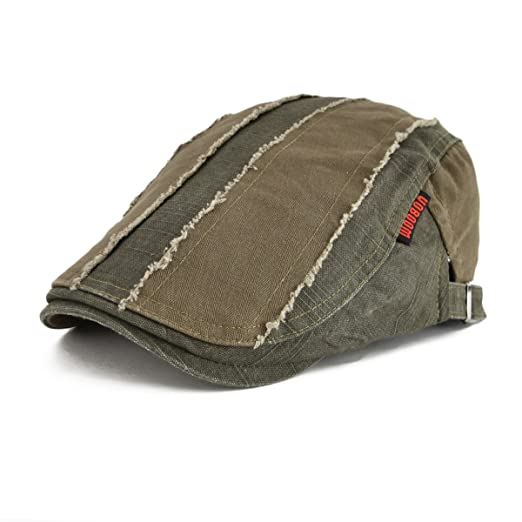 VOBOOM 100% Cotton Distressed Ivy Caps Newsboy Caps Cabbie Hat Gatsby Hat  (Army Green 7172e9d33829