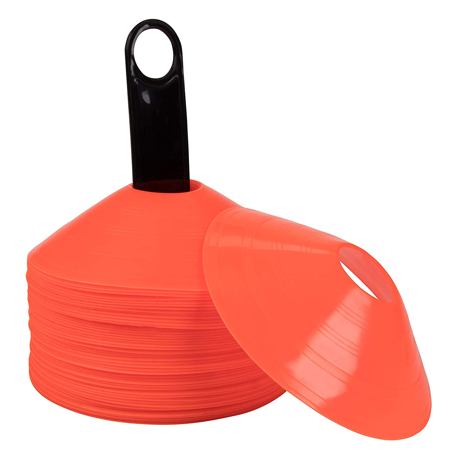 Red Juvale Disc Cones  50Pack Agility Cone Carry Bag Plastic Holder, Soccer Cone, Training Cone, Field Cone Marker Soccer Football Bike Training, Sport, 7.28 x 7.28 x 1.89 Inches