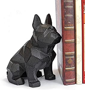 Ambipolar Decorative Bookend , Geometric Dog Theme , Heavy Duty Cast Iron, Dog Statue, Vintage Shelf Decor, Antique Black (1 Pack), T3