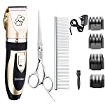 Bojafa [2017 Upgrade Model] Low Noise Cordless Dog Grooming Clippers Kit (Double Batteries+Shears+Comb) - Professional Rechargeable Pet Grooming Clippers Horse Cat Dog Hair Trimmers
