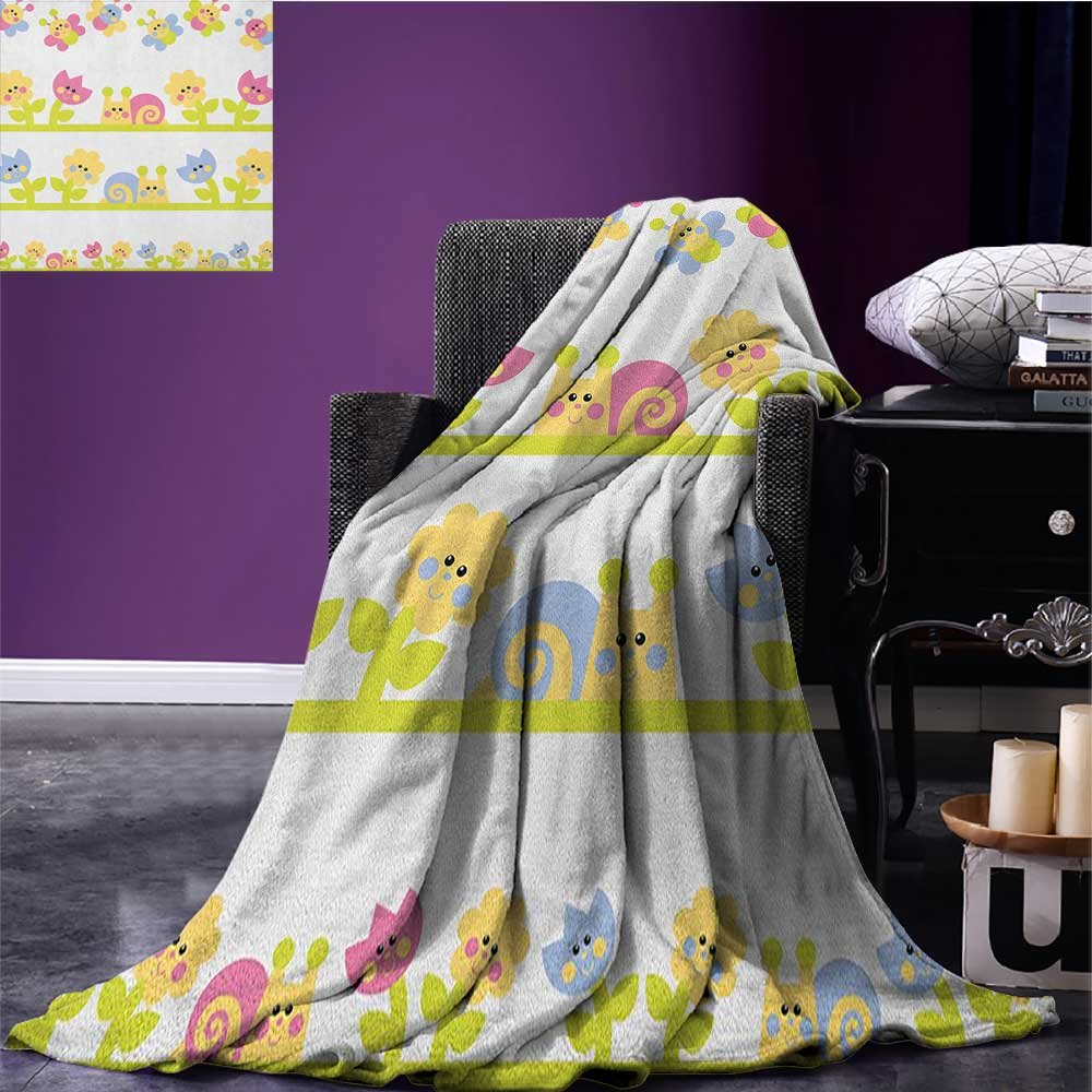 Kids Patterned blanket Cartoon Character Bees Tulip and Daisy Flowers Snails Garden Pattern beach blanket Baby Blue Pale Green Yellow size:60''x80''