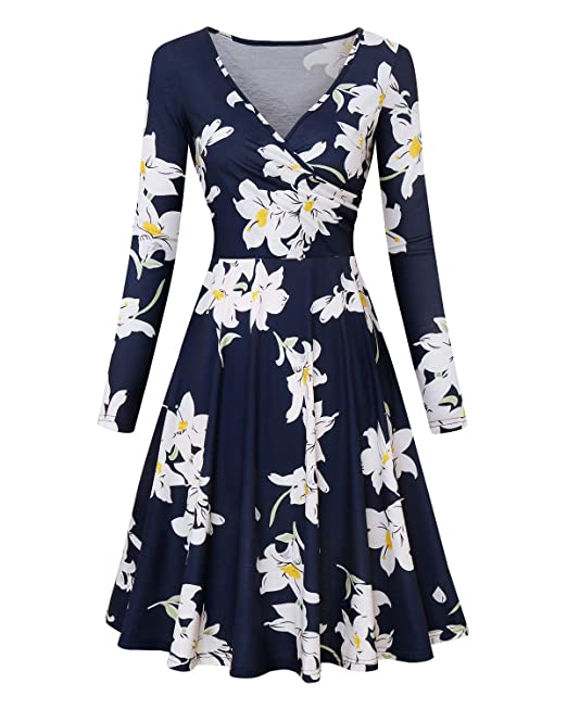 4071348ed01f2 BONESUN Women's Long Sleeve Sexy Deep V Neck Floral Print Dresses Casual  Elegant Swing A Line