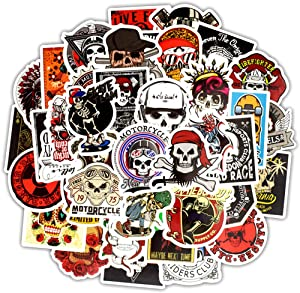 Honch Vinyl Sugar Skull Stickers Pack 50 Pcs Stickers Skull Decals for Laptops Ipad Cars Luggages Water Bottle Helmet