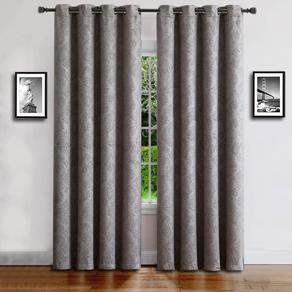"WARM HOME DESIGNS 1 Panel of Extra Long Light Gray 54"" (Width) by 108"" (Length) Textured Blackout Curtains with Embossed Damask Flower Pattern. Drapes Allow Privacy & Reduce Noise. EV Grey 54x108"