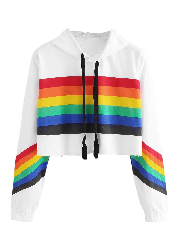 WDIRARA Women's Long Sleeve Pullove Crop Sweatshirt Rainbow Print Raw Hem Hoodie