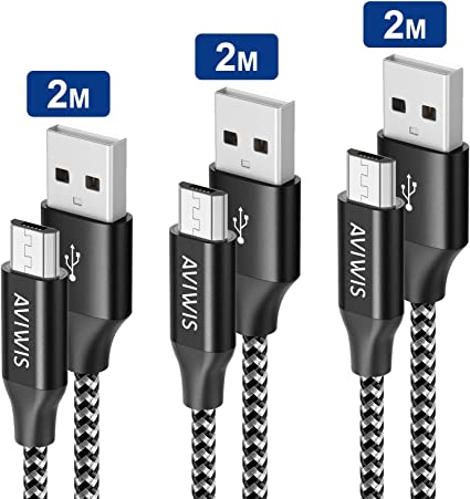 Cable Micro USB, AVIWIS [3-Pack 2M] Cargador Android Carga Rápida Cable Android Nylon Compatible with Galaxy S7/ S6/ J5/ J6/ J7, Huawei, Kindle, Nexus, LG, PS4: Amazon.es: Electrónica