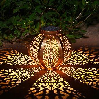 Ulmisfee Faroles Solares Exteriores Luz Solar Colgante Luces Jardines Decorativas Lámpara Exterior Recargable Portátil para Jardín Patio Porche y Camino (A): Amazon.es: Iluminación