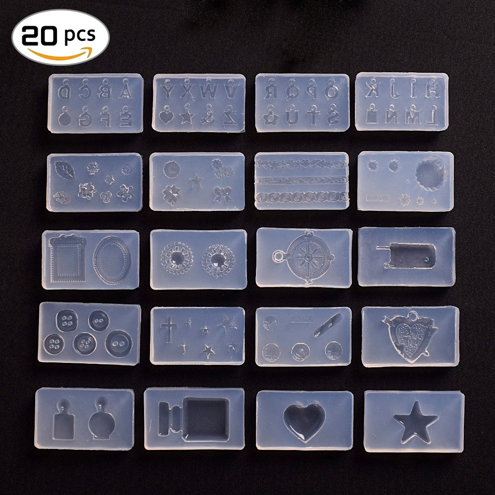 Zikken 20 PCS DIY Manicure Silicone Mold Jewelry Pendant Beads Resin Casting Mould for DIY Craft Making, 3D Nail Art