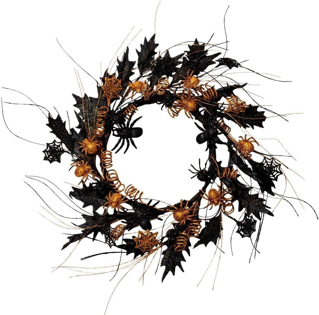 NeoL'artes Black Halloween Spider Wreath Front Door Wreaths Rustic Wreath for Home and Window Deco (Red&Blue)