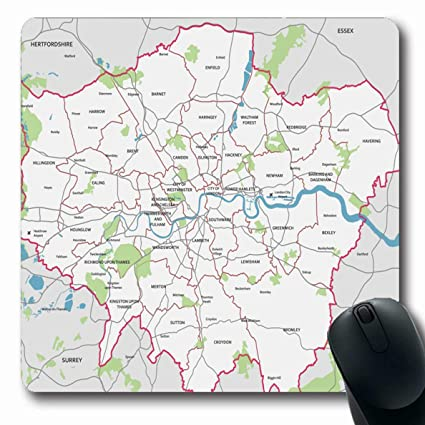 Map Of Greater London Area.Amazon Com Ahawoso Mousepads For Computers Inner Borough High