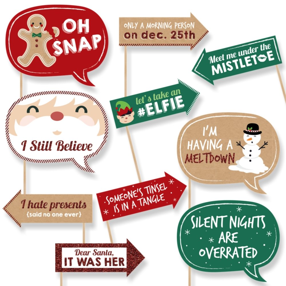 Funny Christmas Party Quotes And Sayings: Holiday Selfie & Christmas Photo Booth Props Kit Including