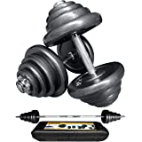 Bibowa Adjustable Dumbbells Set,110lb Cast Iron Dumbbell Barbell 2 in 1,Barbell Weight Set