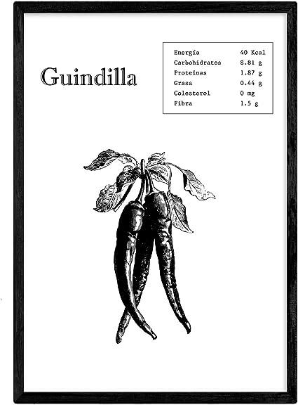 Nacnic Poster de Guindilla. Láminas de frutas y verduras. Tamaño A4