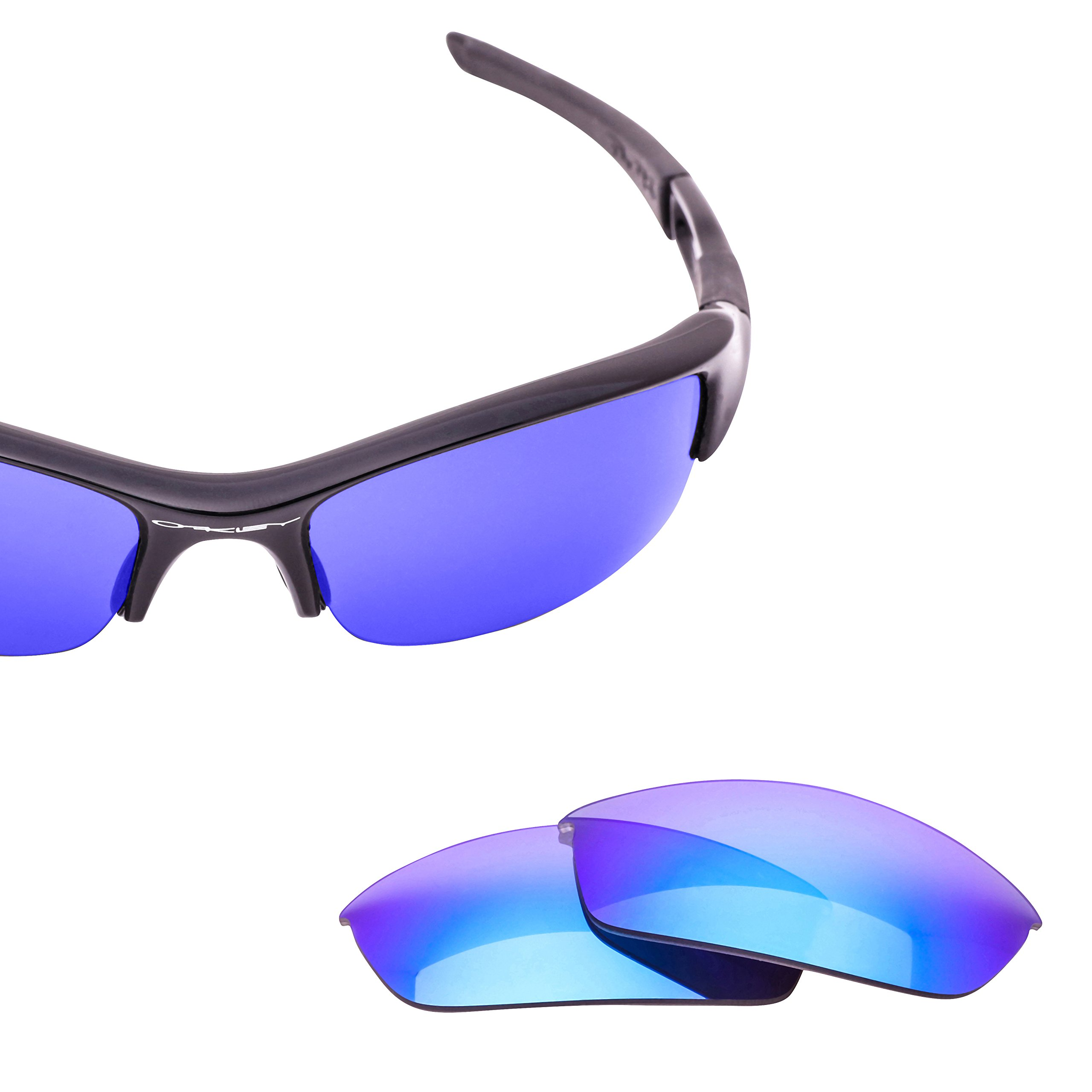 LenzFlip Lenses for Oakley FLAK JACKET Sunglass Frame - Gray Polarized with Blue Mirror Lenses by LenzFlip